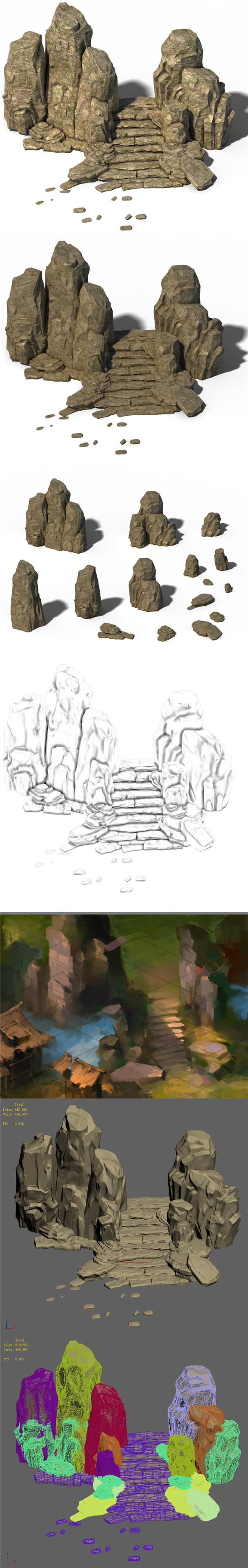 Wild - Steppe Staircase Stones 02 - 3DOcean Item for Sale