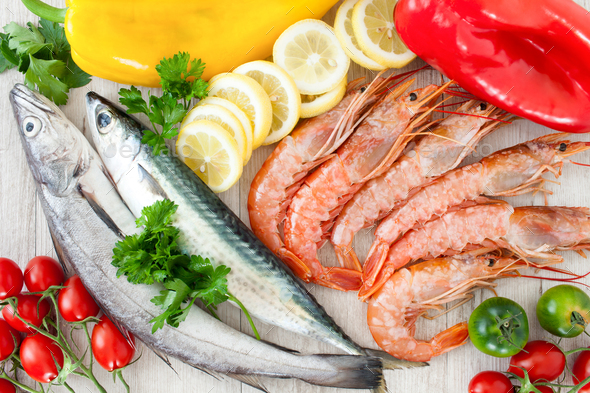 Mackerel, Codfish And Prawns - Stock Photo - Images