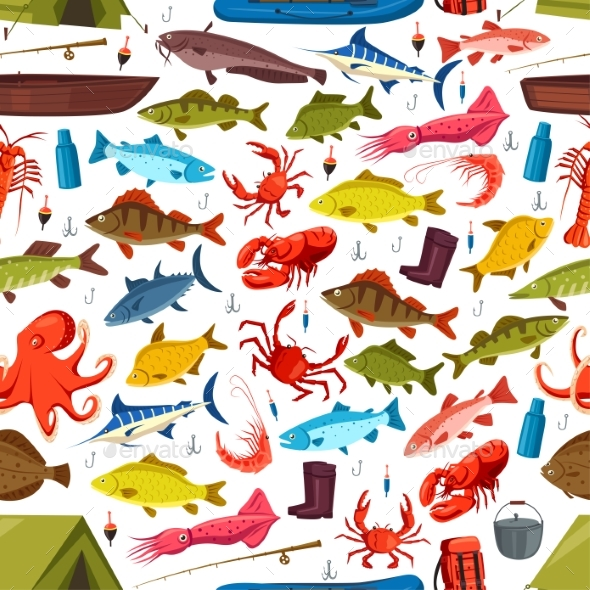 Fishes and Mollusks Fishing Vector Seamless - Miscellaneous Vectors