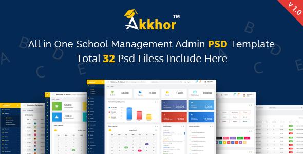 Admin – Akkhor School Management System PSD