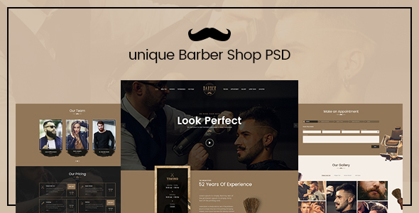 Unique – Barber Shop landing page PSD