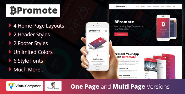 Image of BPromote – Responsive App WordPresss Theme