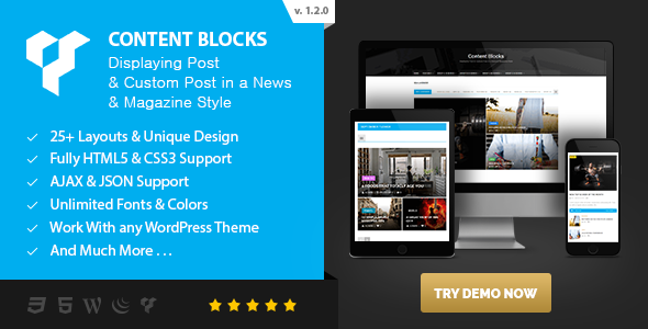 Content Blocks Layout For Visual Composer - Displaying Post & Custom Post in a News & Magazine Style - CodeCanyon Item for Sale