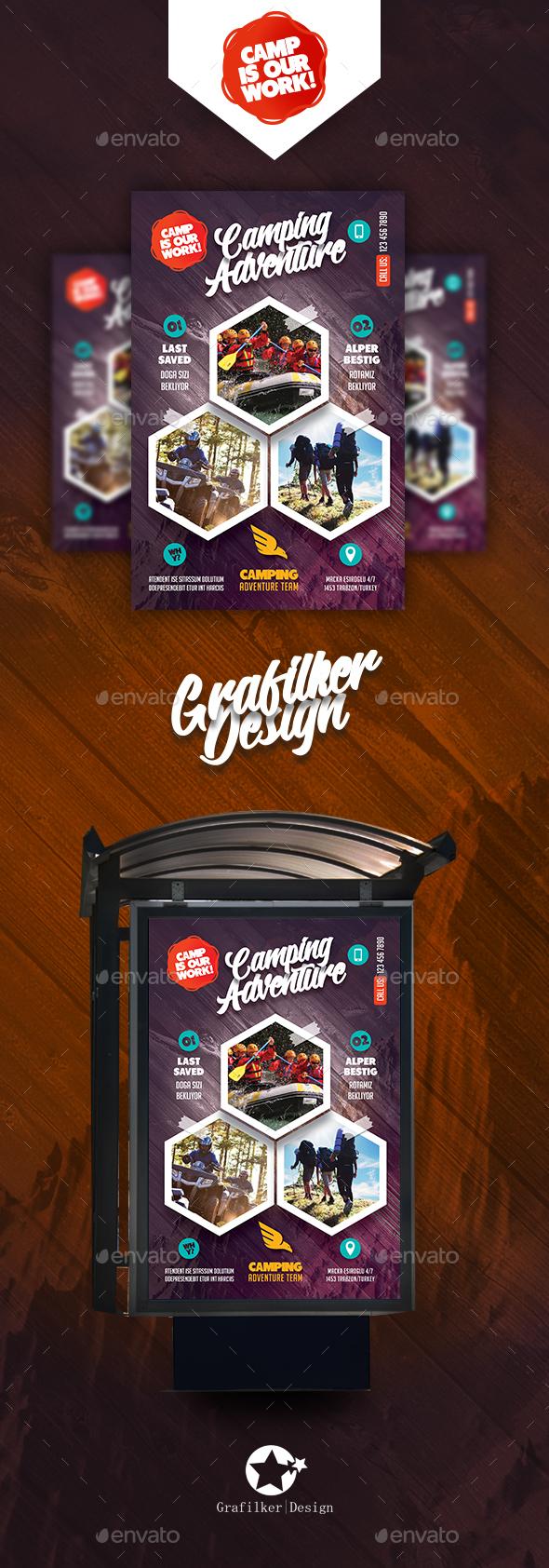 Camping Adventure Poster Templates - Signage Print Templates