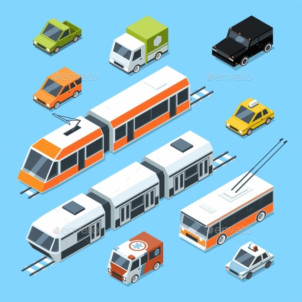 Isometric Municipal Transport Set - Travel Conceptual