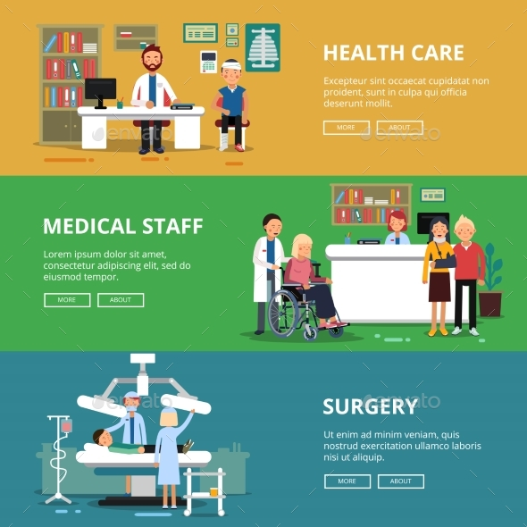 Three Horizontal Vector Banners of Healthcare - Health/Medicine Conceptual