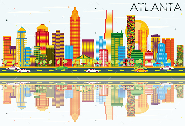 Atlanta Skyline with Color Buildings - Buildings Objects
