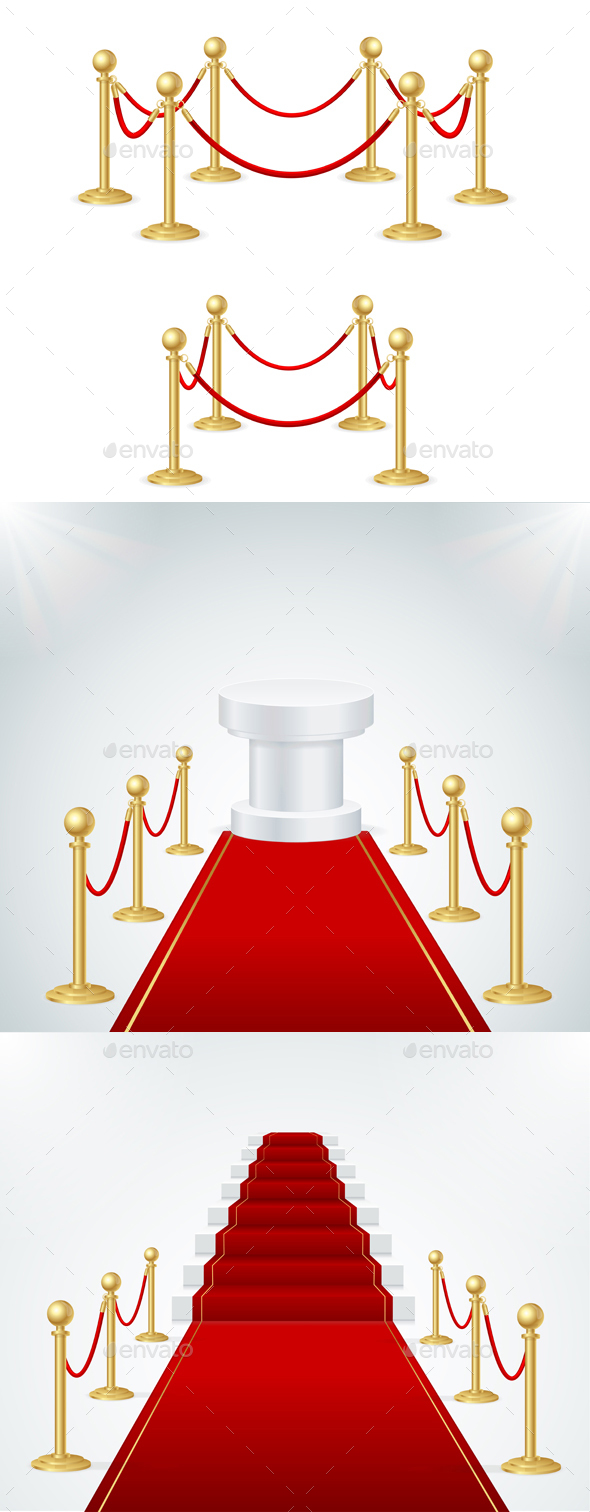 Red Event Carpet  and Gold Rope Barrier - Man-made Objects Objects