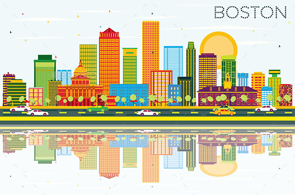 Boston Skyline with Color Buildings - Buildings Objects