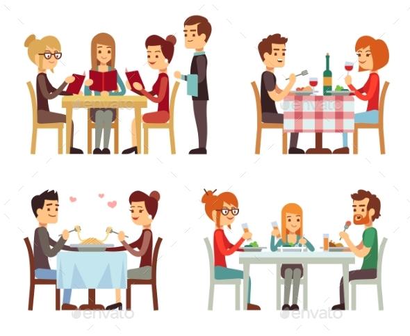 People in Restaurant Eating Dinner - People Characters