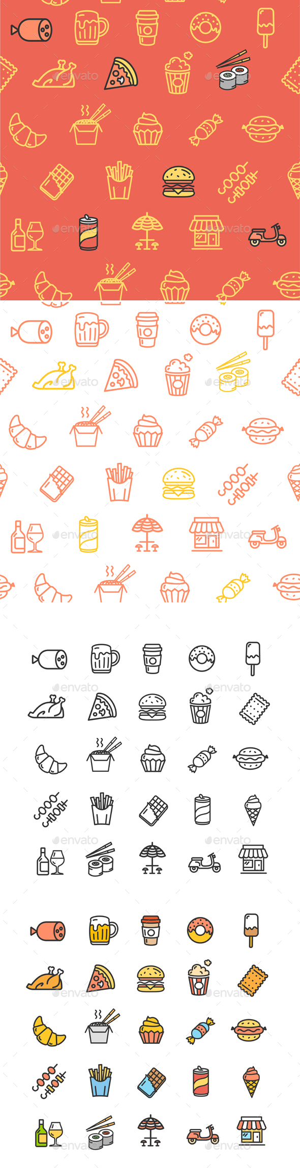 Fastfood and Street Food Color Thin Line Icon Set - Food Objects