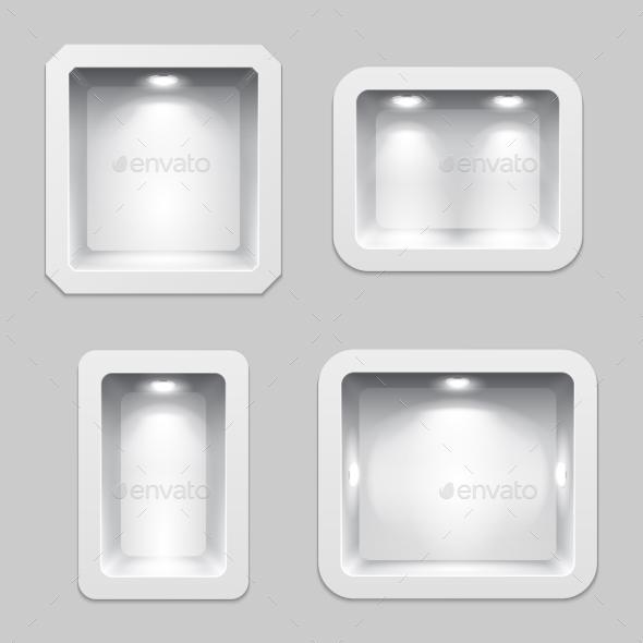 Empty White Plastic Boxes or Niche Display - Miscellaneous Vectors
