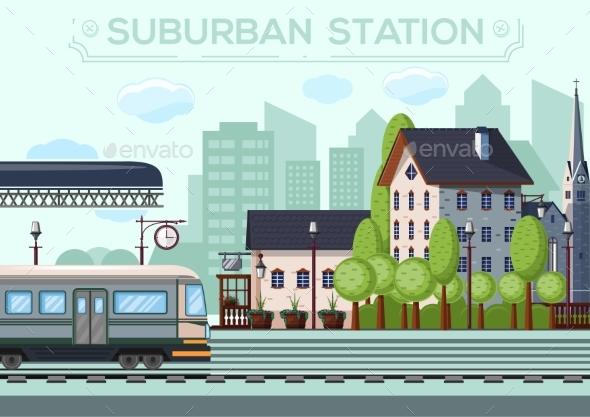 Suburban Railway Station. City Life Design - Miscellaneous Vectors