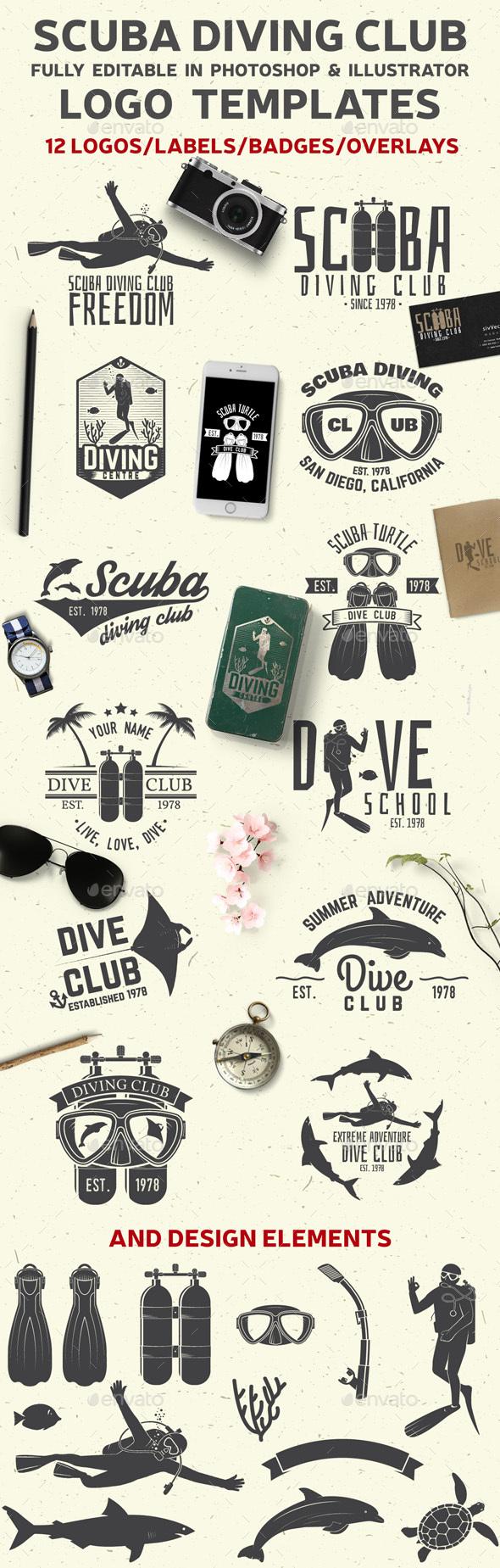 Set of Scuba Diving Clubs Badges - Badges & Stickers Web Elements