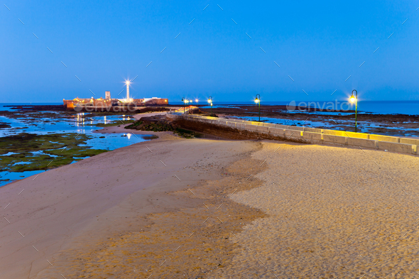 Beach of La Caleta of Cadiz - Stock Photo - Images
