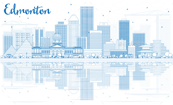 Outline Edmonton Skyline with Blue Buildings and Reflections - Buildings Objects