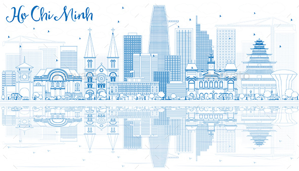 Outline Ho Chi Minh Skyline with Blue Buildings and Reflections - Buildings Objects