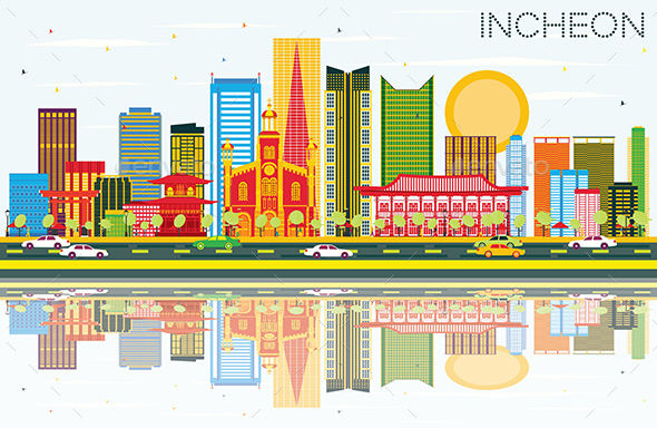 Incheon Skyline with Color Buildings, Blue Sky and Reflections - Buildings Objects