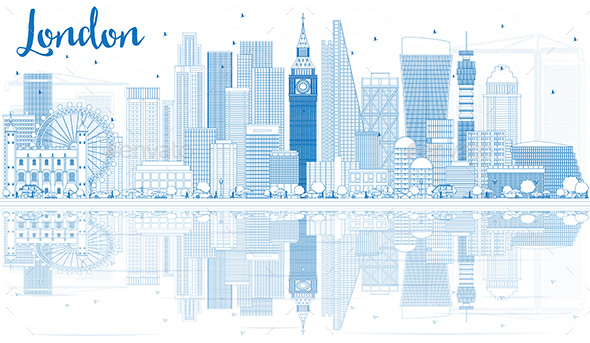 Outline London Skyline with Blue Buildings and Reflections - Buildings Objects