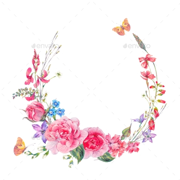 Watercolor Wreath with Wildflowers and Roses - Miscellaneous Illustrations