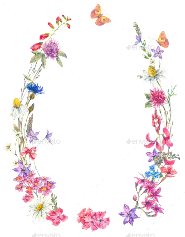 Watercolor Summer Wreath with Wildflowers - Nature Backgrounds