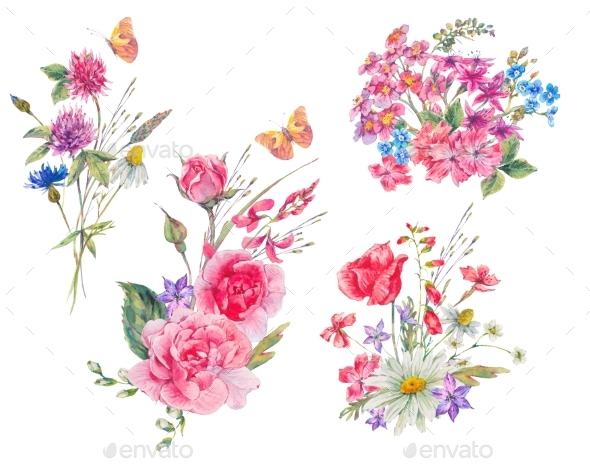 Watercolor Set of Vintage Bouquet of Garden - Nature Backgrounds