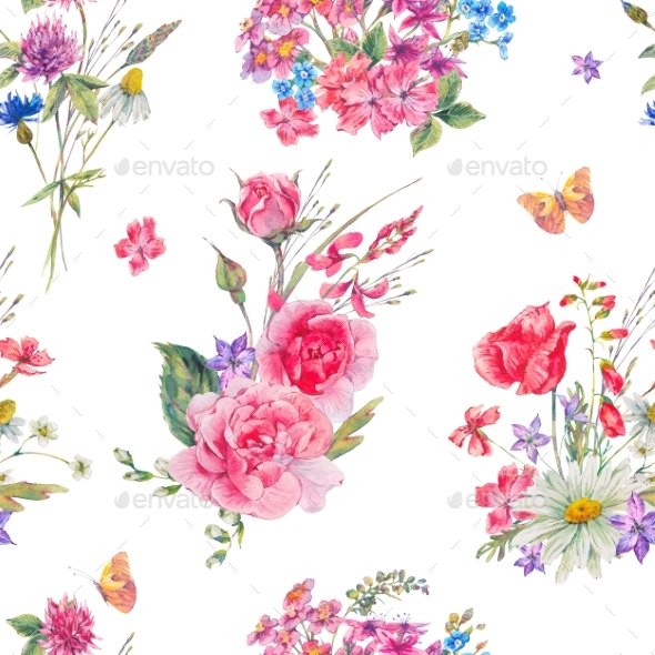 Watercolor Seamless Pattern with Wildflowers and - Miscellaneous Illustrations