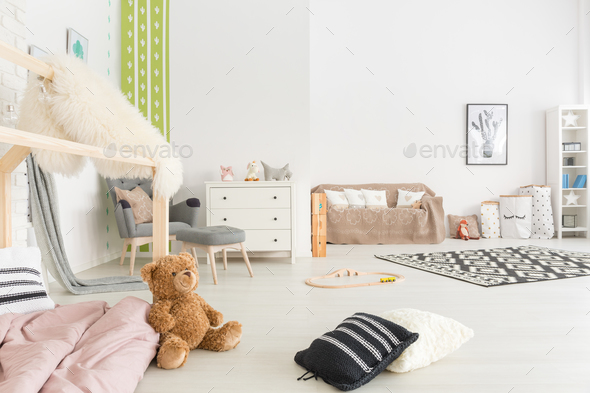 Spacious child room with bed - Stock Photo - Images