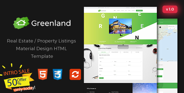 Greenland – Real Estate / Property Listings Material Design HTML Template