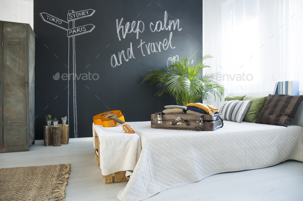 Bed in modern bedroom - Stock Photo - Images