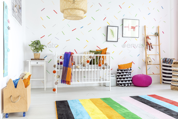 Colorful carpet in baby room - Stock Photo - Images