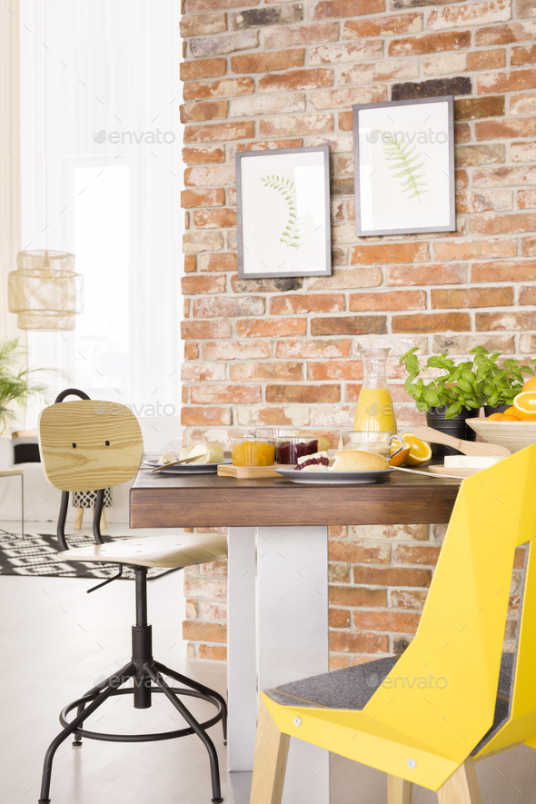 Wooden table in room - Stock Photo - Images