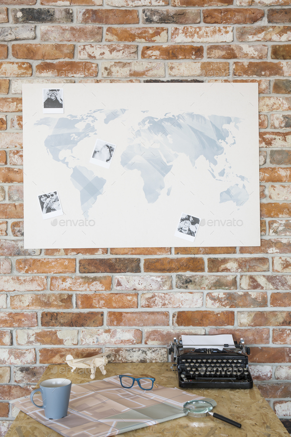 Map on a brick wall - Stock Photo - Images