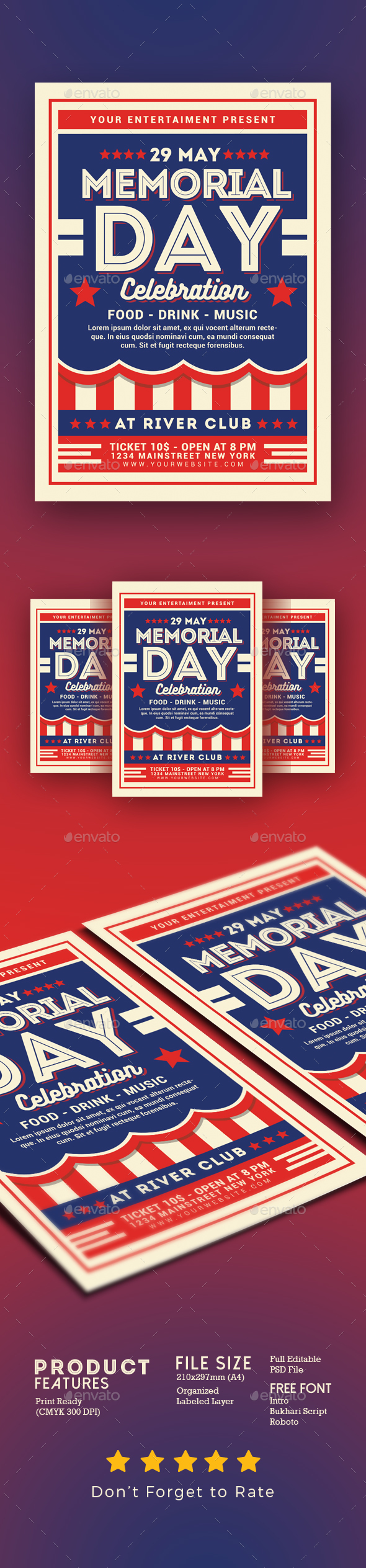 Memorial Day Celebration Flyer - Events Flyers