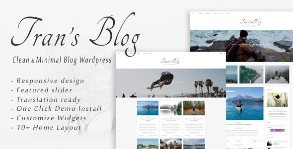 Tran - Clean & Minimal Blog WordPress Theme - Personal Blog / Magazine