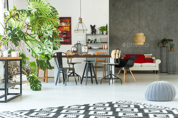 Modern apartment with dining table - Stock Photo - Images
