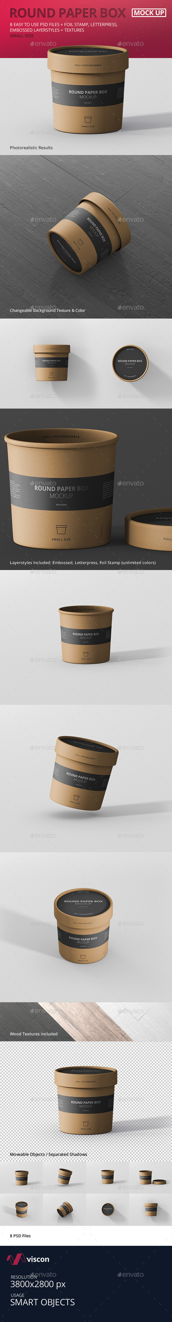 Paper Box Mockup Round - Small Size - Food and Drink Packaging