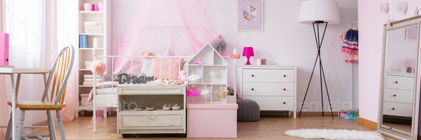 Dreamy bedroom of little girl - Stock Photo - Images