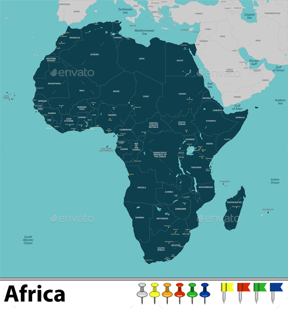 Map of Africa - Travel Conceptual