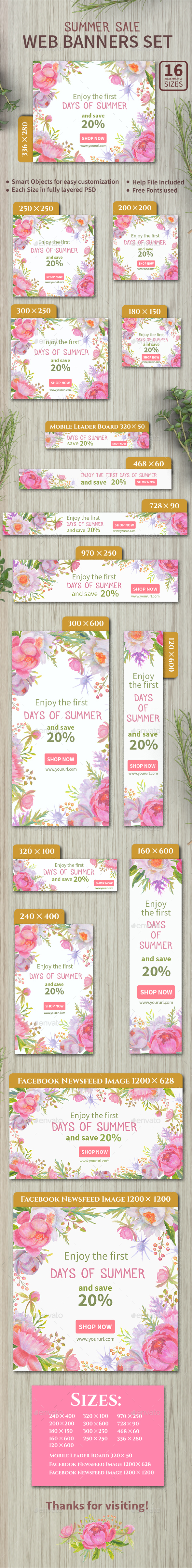 Summer Sale Web Banners Set - Banners & Ads Web Elements