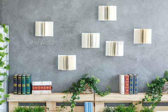 Books on the wall - Stock Photo - Images