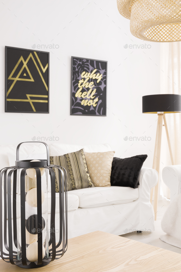 Designer lamp on a table - Stock Photo - Images