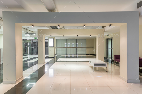 Minimalist hallway in bright tones - Stock Photo - Images