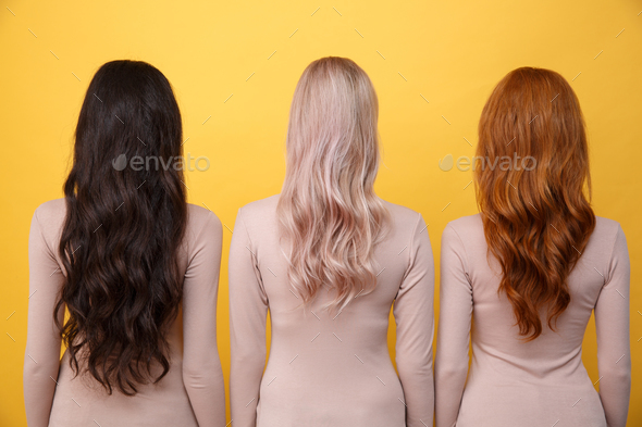 Back view image of young three ladies - Stock Photo - Images
