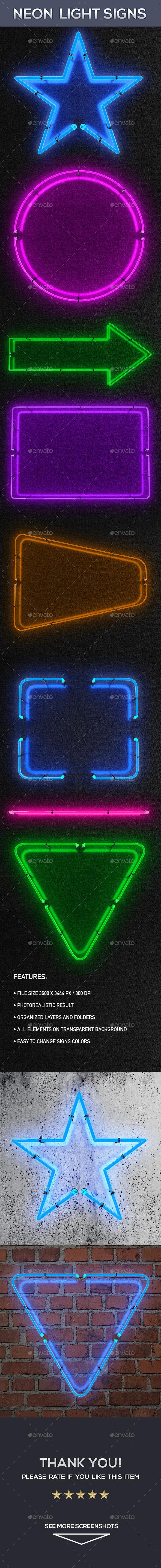 Neon Light Signs - Decorative Symbols Decorative