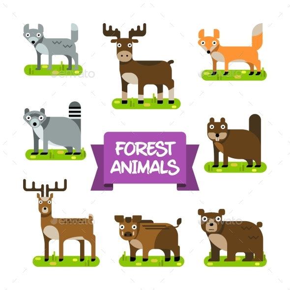 Forest Animals Set. Illustration in Flat Design. - Nature Conceptual