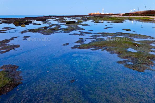 Beach of La Caleta of Cadiz - Stock Photo - Images