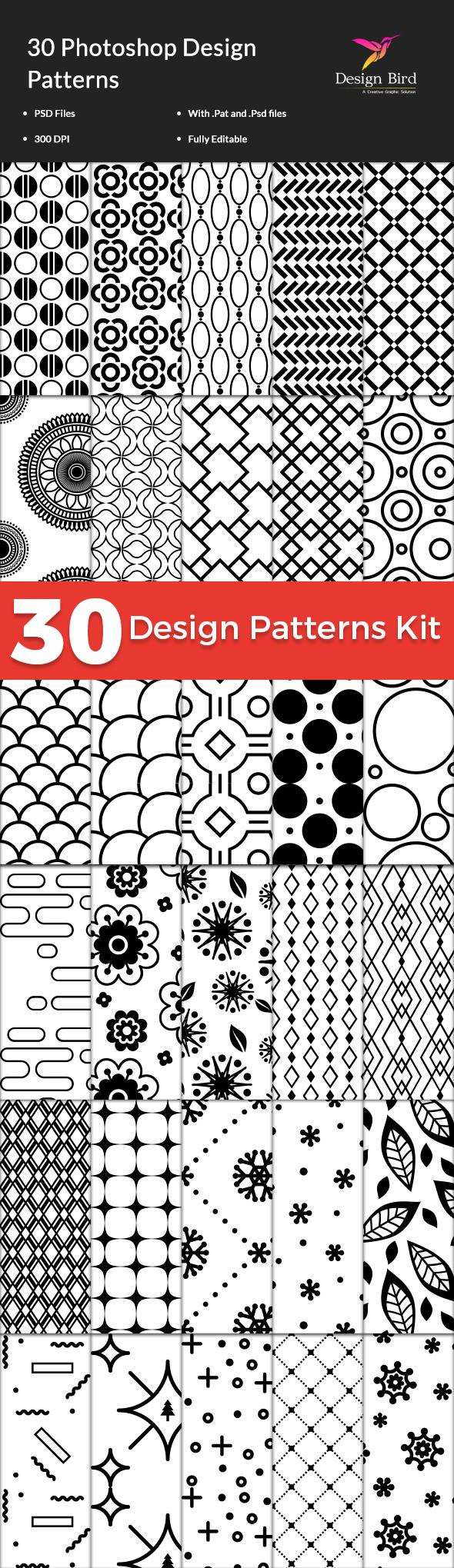 30 Design Patterns Kit - Textures / Fills / Patterns Photoshop