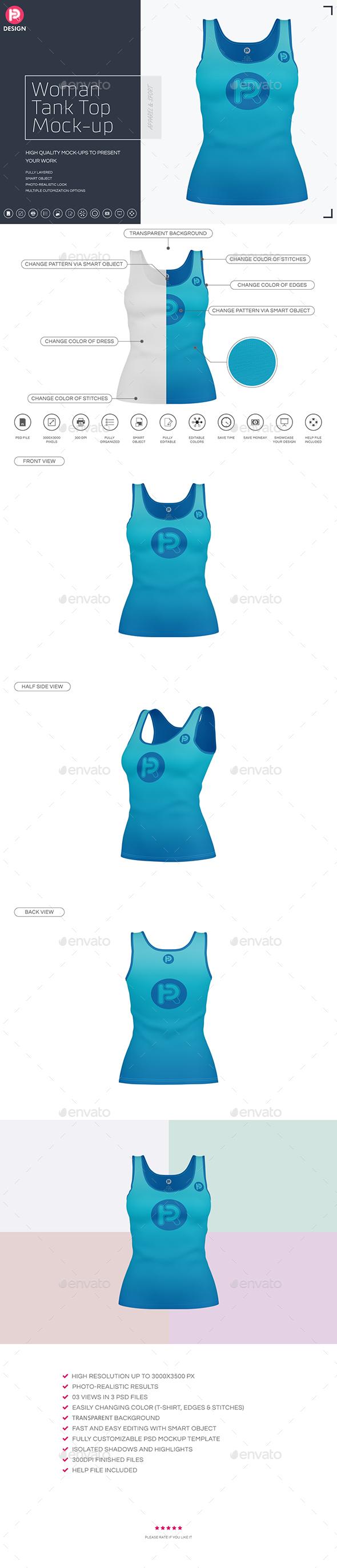 Woman Tank Top Mock-up - T-shirts Apparel