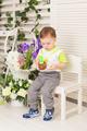 kid boy celebrating his birthday holds piece of cake - PhotoDune Item for Sale